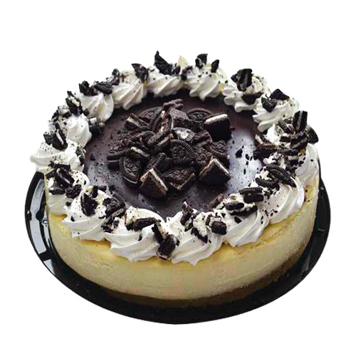 pastel Cheesecake decorado con galleta Oreo.