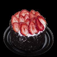 Mini pastel de chocolate con flan napolitano en pastelería y respoteria la esperanza  y fresas